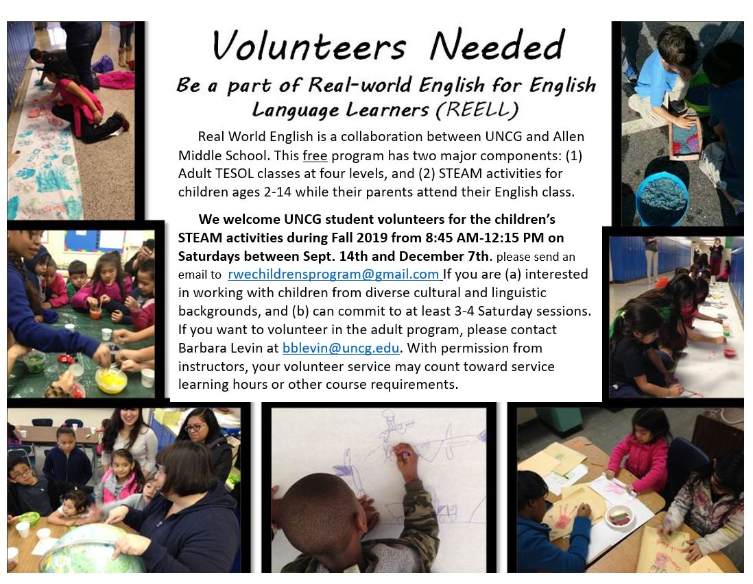 Flier for volunteering for the Real World English Program