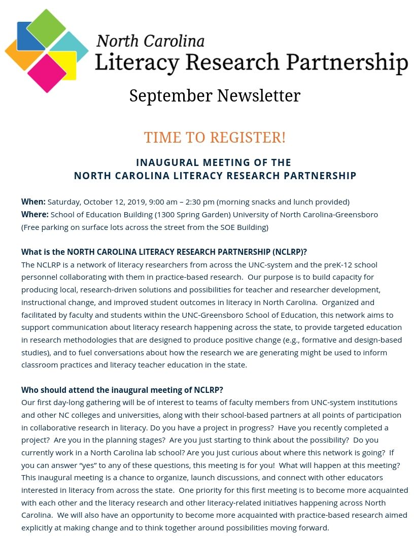 North Carolina Literacy Research Partnership flier