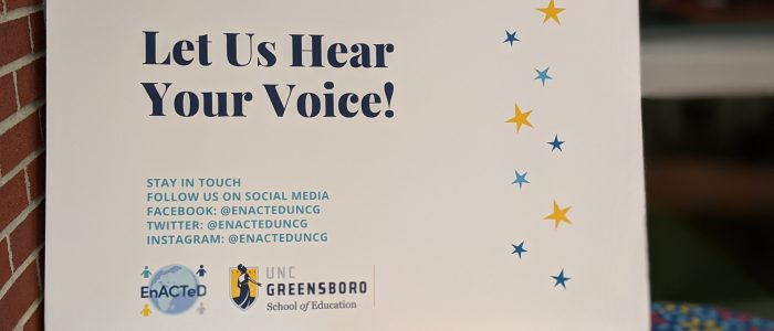 "A poster with ""Let us hear your voice"" with social media links"